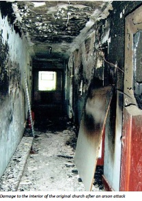 Fire damage caused by arson attack